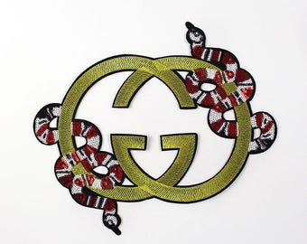 Brand snake GG embroidered sequin patch