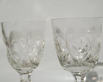 Wine glasses 30 years heavy crystal glass severely ground and antique therefore unfortunately also a Minichip
