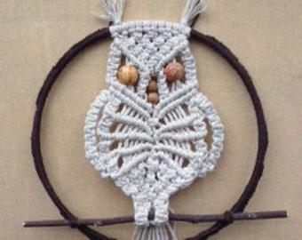 Macramé owl in metal ring