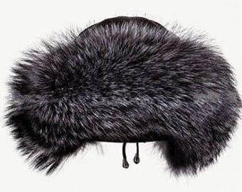 FOX FUR hat black women winter beanie leather cap christmas gift for girlfriend headwear toque luxury suviet style russian ussr ushanka boho