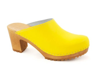 Leather clogs Black sandals Sandals Wooden clogs swedish clogs Handmade clogs sandals Gift for women mules high heel yellow mule  wood clog