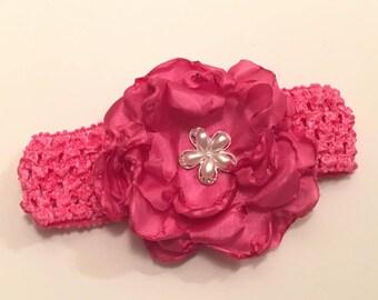 READY TO SHIP Baby headband, Toddler headband, Infant headband, Easter headband, Pink headband, Flower headband, Hair accessories, Elastic
