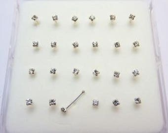 24 Sterling silver clear jewel nose studs posts with ball