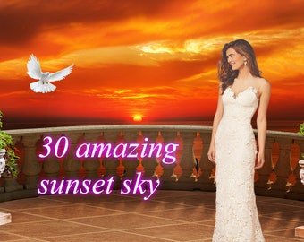 Great collection of 30 sunset skies | Photo overlays | Sky overlays  | Overlays for photoshop | Sunset Overlays | Photoshop overlay