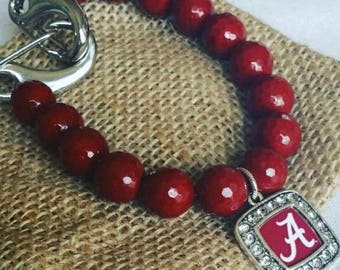 Roosevelt's Alabama Designer Crimson Beaded Bracelet