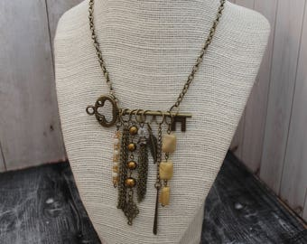 Antique Bronze Key Charm Boho Statement Necklace Jewelry Handmade Necklace Hippie Necklace Bohemian Jewelry Bohemian Statement Necklace