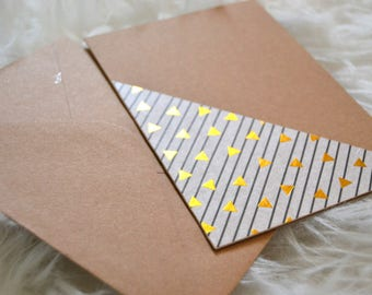 Set of 4 Kraft cards with different patterns - greeting card - postcard - paper Kraft