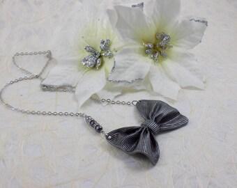 Matte Silver Bow Tie Necklace