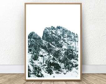 Mountain Photography, Scandinavian Decor, Extreme Minimalism, Blue Wall Art, Landscape Print, Large Poster Art, Modern Mountain Nature Decor