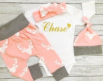 Baby Girl Coming Home Outfit, Personalized Newborn Outfit, Baby Girl Coming Home Outfit Winter, Personalized Newborn Girl Outfit