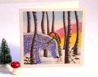 Forest Snow Bear Christmas card matte recycled