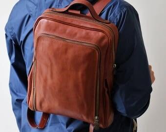 Mens Backpack, Leather Backpack, Leather Bag, Leather Rucksack, Travel Backpack, Brown Backpack, Laptop Backpack
