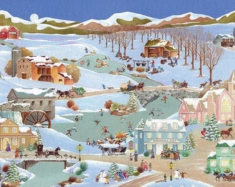 "Folk Art Print ""Winter Fun in the Country"""