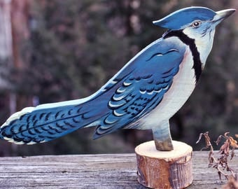 Painted Blue Jay Folk Art Carving