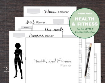 Fitness Planner Printable Health Planner Workout Plan Meal Organizer Weight Loss Tracker Measurement Tracker A4 A5 Letter size