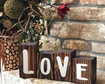 LOVE Reclaimed Rustic Wooden Blocks | Rustic Valentine's Decor