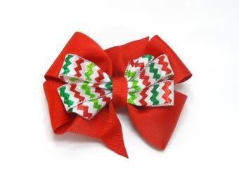 Red Chevron Hair bow, Christmas Hair Bow, Girl's Christmas Bow, Red Holiday Hair Bow, Chevron Holiday Bow, Red Hair Bow, Holiday party bow