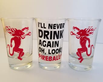 Set of three Fireball shot glasses