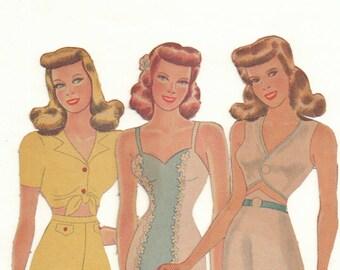 Vintage Forties 'Fuzzy' Paper Dolls 'Three Pretty Girls'