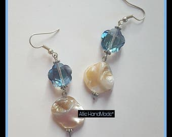 Heavenly white mother of Pearl and crystal earrings