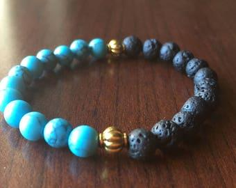 Turquoise bracelet, Lava Stone Bracelet, Boho bracelet, Yoga bracelet, Gemstone bracelet, Gemstone Jewelry, Stretch Bracelet,