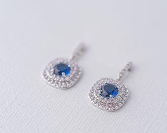 Celine Cubic Zirconia Earrings - Silver and Royal Blue, Wedding Jewelry, Bridal Earrings, Mother of the Bride Earrings, Engagement Earrings