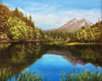 """8""""H x 10""""W Limited Edition Giclée Print of my Acrylic Painting """"Peaceful Lake"""""""