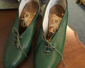 Vintage Green Pumps Genuine Leather