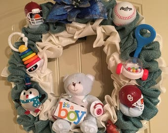 Baby Wreath, Custom Wreath, Baby Shower