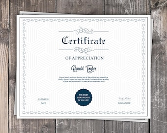 Certificate template etsy multipurpose certificate template printable certificate template microsoft word photoshop template instant download yadclub Gallery