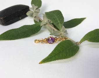 Victorian amethyst and seed pearl brooch in 15 ct gold setting