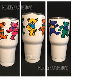 "YETI RAMBLER custom made with ""Grateful Dead Bears"" logo,30oz Yeti,Personalized cup dead head"