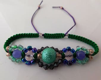 Textured green and purple artist designed expandable bracelet