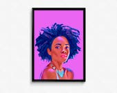 Nubian Queen Afro Woman Beauty art print poster.