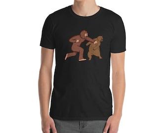 Sasquatch Fighting A Bear // BigFoot // Yeti // Abdominal Snowman // Funny T Shirt