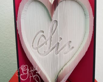 """Folded book with Heart """"Sis"""", great gift"""