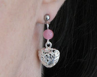 Rose Quartz and Silver Plated Puff Heart Earrings Hypo-allergenic Stainless Steel Studs Valentines Gift