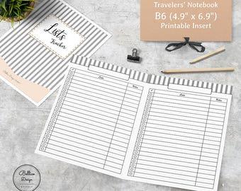 List Printable, List Planner, Lists Planner Inserts, Tracker Planner Inserts, To Do List Printable, B6 Printable Inserts, B6 TN Inserts