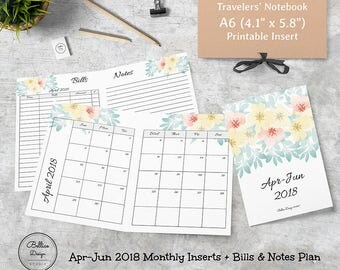 Apr-Jun 2018 Monthly Tracker, Monthly Planner 2018, A6 Planner Refill, A6 Monthly Planner, 2018 A6 Planner, Bill Planner Insert, A6 Inserts