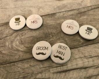 Insignes de mariage, mariage garçon d'honneur, meilleur homme faveur, Mr et Mme Badges