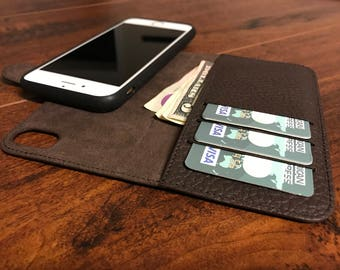 Magnetic Pebbly Surface Leather iPhone 7 Plus Wallet Case, Detachable Leather iPhone 7 Plus Case, Personalized Pebbly Leather, Custom
