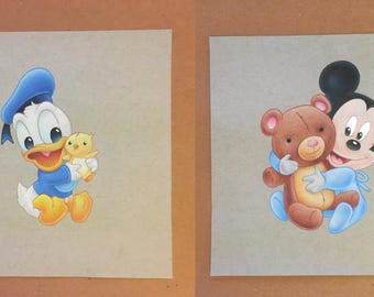 Pair of drawings - Baby Mickey & Baby Donald