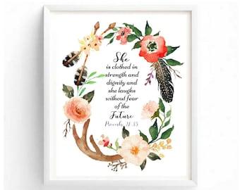 Proverbs 21:35 Beautiful Boho Digital Printable Wall Art Bible Scripture Quotes Family Painting Biblical Printables Inspirational Quotes