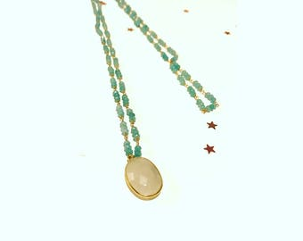 "Necklace ""Simone"" gold plated end 18 k stones amazonites and Moonstone pendant."