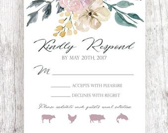 Floral Corners Wedding RSVP - Customized & Printable