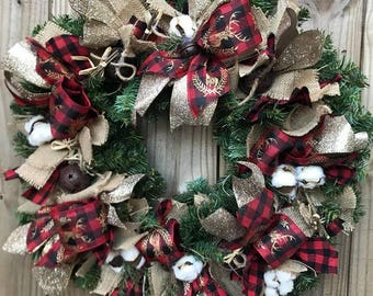 "Custom Made ""Country Christmas"" Wreath cotton buffalo gingham ribbon gold"