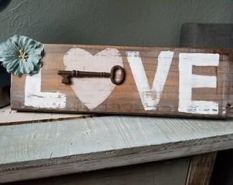 LOVE wood sign w/ vintage skeleton key