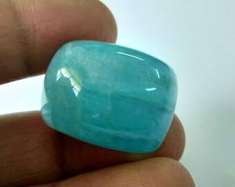 Natural Loose Gemstones Santa Maria Aquamarine Cabochon Cushion Shape 94  Carat  Size 28 x 24 x 16 mm