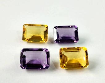 Top Quality of Brazilian Natural Amethyst Citrine Quartz Octogan Shape 28.50 Carat Size 10-14-5-MM