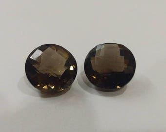 Top Quality of Natural Smokey Quartz Round Checker Cut 14 MM 18 Carat